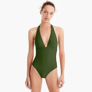 J Crew Plunging Halter One Piece Swimsuit Green 2